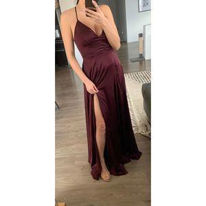 Windsor Lace Up Back Satin V Neck Dress